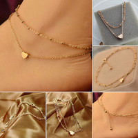 Gold Tone Love Heart Ankle Bracelet Double Layer Chain Foot Anklet