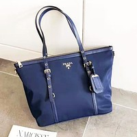 PRADA fashion hot selling women's single-shoulder bag pure color casual classic shopping bag Dark Blue