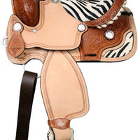 Saddles Tack Horse Supplies - ChickSaddlery.com Double T Youth Saddle with Zebra Trim