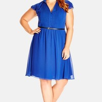 Plus Size Women's City Chic Belted Pintuck Frill Dress,