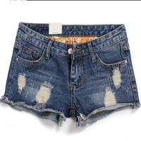 promotion 2014 summer Frosted hole denim shorts women short jeans light and dark blue pants short shorts