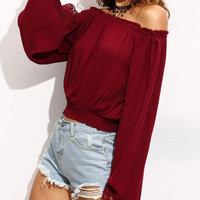 Wine Red Lace Armholes Stitching Chiffon Long Sleeve Off Shoulder Blouse