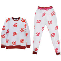 3D 100 Emoji Sweatshirts and Joggers Unisex Jogging Suits