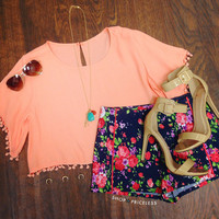 Happy Pom Pom Crop Top - Peach