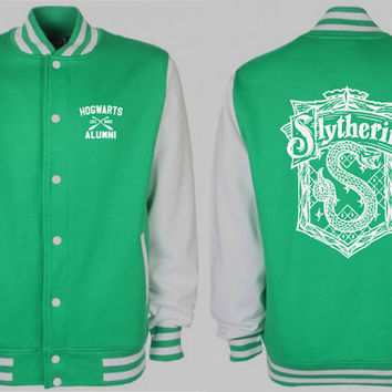 Slythering Quidditch Varsity Jacket (Green/White Sleeves) Sweatshirt Harry Potter Fan Gift Tumblr Pinterest Clothing