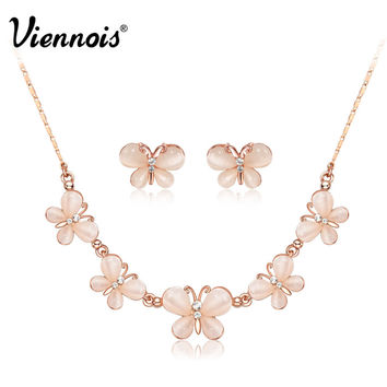 Viennois Fashion Rose Gold Plated Creamy Crystal Rhinestone Butterfly Cat eye's Earrings Necklace Jewelry Set Girl Women
