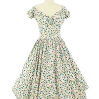 50s Floral Butterfly Print Tea Length Dress-1950s Vintage Dresses