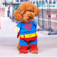 Fashion Lovely Pet Cat Dog Superman Costume Suit Puppy Dog Clothes Outfit Superhero Apparel Clothing for Dogs Autumn Winter