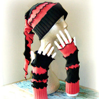 Winter Gift Set, Hat and Arm Warmers, Upcycled Clothing, Ski Tobbogan, Fingerless Gloves, Snowboarding