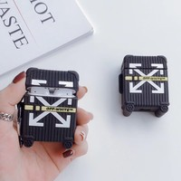 Off White Suitcase v2 Protective Apple Airpod Case - Black & Yellow