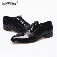 Fashion Men's PU Leather Shoes Man New Style Dress Office & Career Flats Mens Wedding Driving Party Lace-Up Shoes