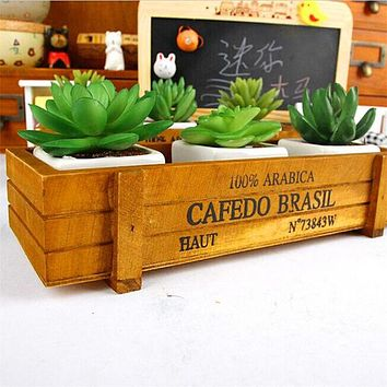 Vintage Style Wooden Storage Box For Flower, Plants, Bonsai