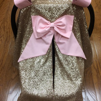 Champagne Sequins & Pale Pink Car Seat Canopy
