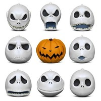 Tim Burton's The Nightmare Before Christmas The Many Faces of Jack Skellington 25th Anniversary Porcelain Ornaments, Set of 9