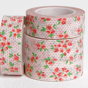 Pink Dot Floral Washi, Sweet Simple Paper Tape, 15mm