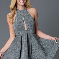 Short Halter Glitter A-Line Party Dress