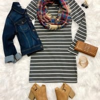 She's Looking at You Tunic Dress: Grey