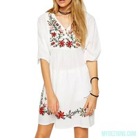 Summer Dress Mexican Ethnic Embroidered Pessant Hippie Half sleeve V-Neck Gypsy