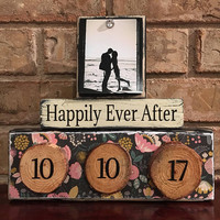 Wedding gift, bridal shower gift, wood slice, wood rounds, wedding date, unique gift for couple, custom gift, floral sign, bride and groom