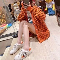 """""""Gucci"""" Women Fashion Casual Knit Solid Color Logo Long Sleeve Cardigan V-Neck Knitwear Sweater Coat"""