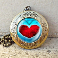 life Zelda heart container vintage pendant locket necklace - ready for gifting