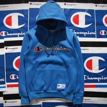 Champion Popular Women Men Leisure Long Sleeve Embroidered Logo Hoodie Cotton Sweater Pullover Top Blue I