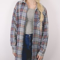 Vintage Navy White Plaid Flannel Shirt