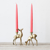 Brass Deer Couple Candle Holders by GallivantingGirls on Etsy