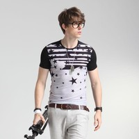 Summer Round-neck Men's Fashion Print Short Sleeve Bottoming Shirt T-shirts = 6450311875