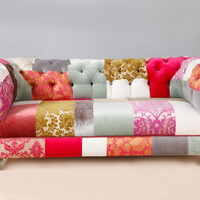 Pink Chesterfield Patchwork Sofa