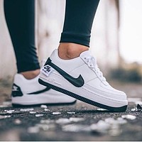 Nike Air Force 1 AF1  Low Tops Shoes Contrast Sneakers Flat Black White Classic Shoes