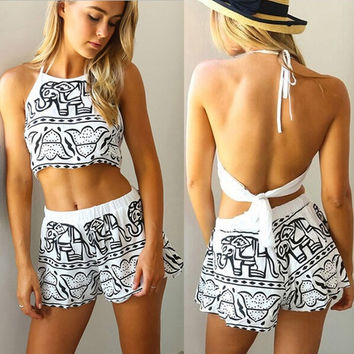 Women New fashion Sexy Summer Beach Jumpsuit Black White Halter Backless Shorts Clothing Set Rompers Elephants Print Casual Playsuitt = 5657659905