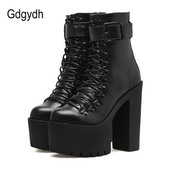 Gdgydh Fashion Motorcycle Boots Women Leather Spring Autumn Metal Buckle High Heels Shoes Zipper Black Ankle Boots Woman Lacing