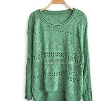 Cut Out Knitted Jumpers with High Low Hem
