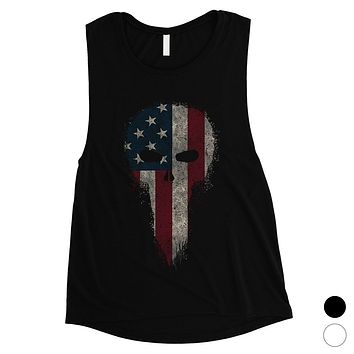 Vintage American Skull Womens Muscle Tee Cute 4th of July Outfits