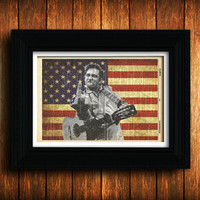 Johnny Cash Print on Dictionary Page-Rock And Roll America-Rebel-Outlaw-Guitar-Poster-American Flag-Rockabilly-Blues- Country music -Waylon