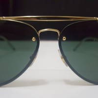 Rayban Blaze Aviator RB3584 Designer Black Gold Sunglasses
