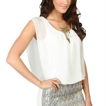 Sleeveless Blouson Dress with Gold and Silver Sequin Skirt