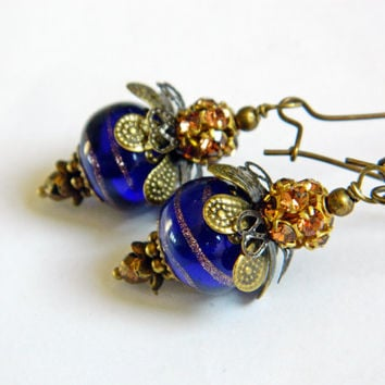 Blue Lampwork Earrings with Rhinestone Balls, Ink Blue Boho earrings, Dark Blue glass bead earrings Romantic Gypsy earrings Artisan Earrings