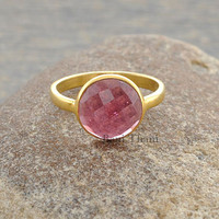 Pink Quartz Round 10mm Micron Gold Plated 925 Sterling Silver Ring - #1216
