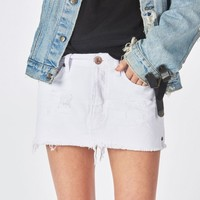 WHITE BEAUTY JUNKYARD RELAXED DENIM MINI SKIRT