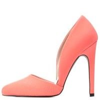 Coral Qupid Python Textured D'Orsay Pumps by