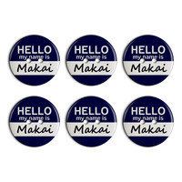 Makai Hello My Name Is Plastic Resin Button Set of 6