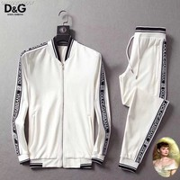 DG Men and Women Fashion  Black Leisure Tracksuit Two Piece Suit Set