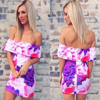 Purple Floral Print Strapless Off Shoulder Bodycon Mini Dress