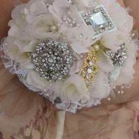 Brooch Bridal Bouquet, Wedding Bouquet, Ivory, Gold, Silver, Rhinestone, Pearl, Vintage, Pearls, Shabby Chic, Fabric Flower Bridesmaid