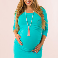 My Wish Maternity Dress in Teal