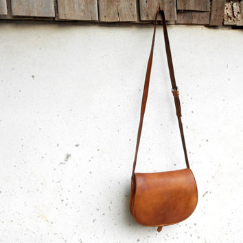 Vintage Tan Brown Vegetable Leather Purse // Crossbody Bag // Shoulder Bag // Vintage Handmade Bag // Medium