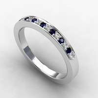 Blue sapphire ring, white sapphire, White gold, thin wedding band, sapphire band, eternity ring, blue wedding, wedding band
