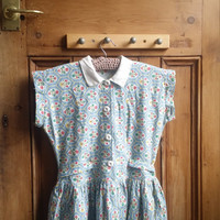 1950s teen dress tea dresses floral retro vintage clothing peter pan collar xs clothes pale blue Dolly Topsy Etsy UK